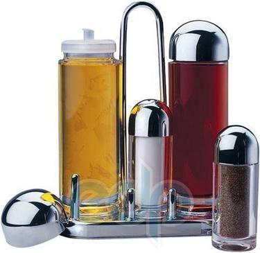 Vinzer (посуда) Vinzer -  Менажница - акрил, 5 предметов: емк, для масла, уксуса, соли и перца, хром, подставка (арт. 69262)