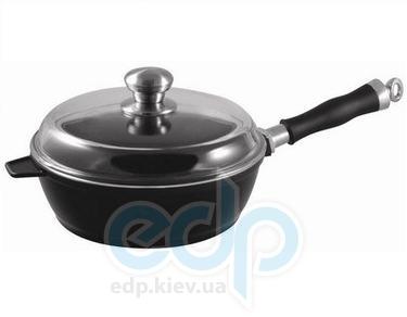 Vinzer (посуда) Vinzer -  Сотейник с крышкой CastForm UNIVERSAL - диаметр 24см, съемная ручка из нержавеющей стали, жаростойкое стекло Pyrex (арт. 69466)
