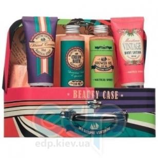 Mades Cosmetics - Maritime Vintage с ароматом душа морей - Набор (гель для душа 110 ml+крем для душа 110 ml+лосьон для тела 100 ml+крем для рук 100 ml+мочалка)