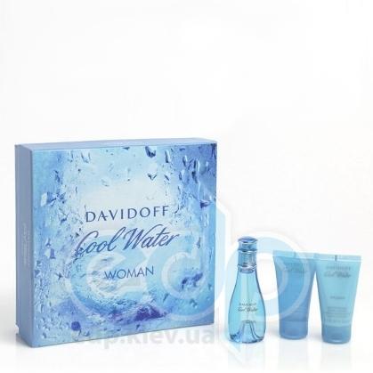 Davidoff Cool Water woman -  Набор (туалетная вода 100 + гель для душа 75 + лосьон-молочко для тела 75)