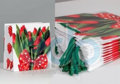 Пакет бумажный горизонтальный Sabona - Красные тюльпаны - 24,5x35x10