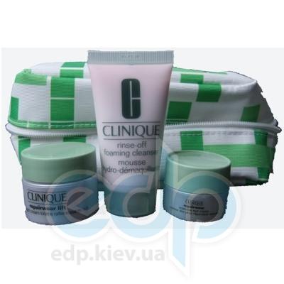 Clinique - Skin Care Набор (Мусс для лица очищающий 30 ml + крем ночной 15 ml + крем для кожи вокруг глаз 5 ml) зеленая косметичка