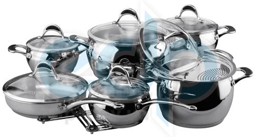 Vinzer (посуда) Vinzer -  Набор посуды STELLA - 14 предметов, термоаккумулирующее дно (арт. 89020)