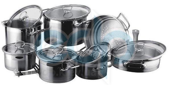Vinzer (посуда) Vinzer -  Набор посуды UNIVERSUM - 14 предметов, 4-х слойное термоаккумулирующее дно, стеклянная крышка (арт. 89032)