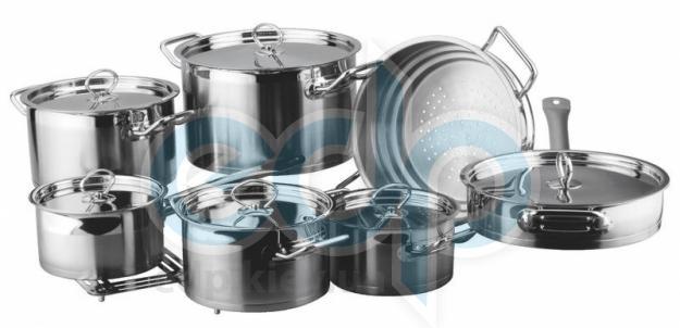 Vinzer (посуда) Vinzer -  Набор посуды UNIVERSUM PRO - 14 предметов, 4-х слойное термоаккумулирующее дно (арт. 89033)