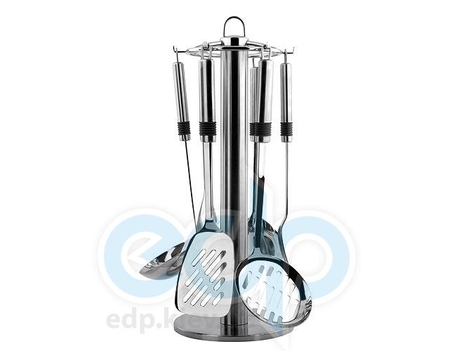 Vinzer (посуда) Vinzer -  Кухонный набор - 7 предметов, поворачивающаяся стойка из нержавеющей стали (арт. 89193)