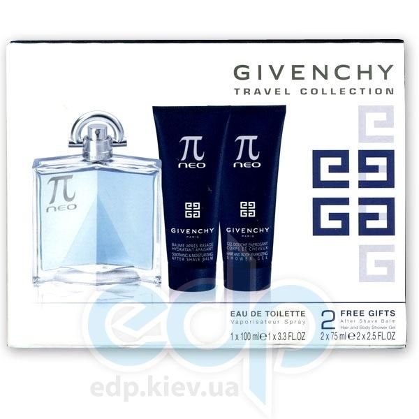 Givenchy Pi Neo -  Набор (туалетная вода 100 + гель для душа 75 + бальзам после бритья 75) Travel Collection