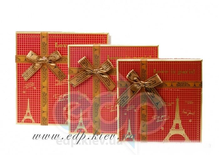 Подарочная коробка универсальная - Love is Paris красная - 85x185x185 мм (W8216-2)