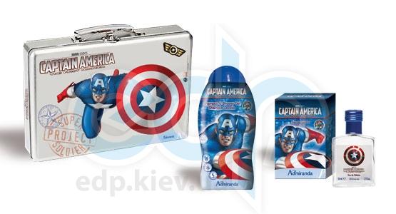 Admiranda Captain America - Набор подарочный (Туалетная вода Captain America 50 ml + Шампунь-гель для душа Captain America 300 ml + чемоданчик) примятый (арт. AM 73676)