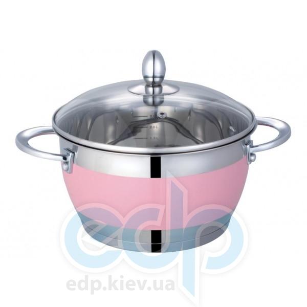 Lessner - Pink с крышкой объем 1.9 л диаметр 16 см  (арт. ЛС55117-16Р)