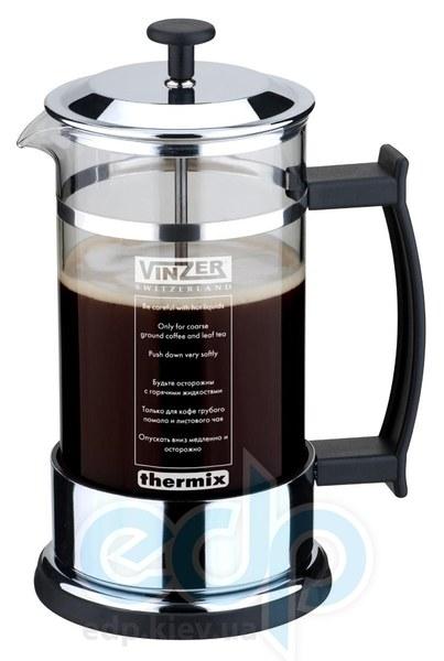 Vinzer (посуда) Vinzer -  Кофейник / Заварник для чая - нержавеющая сталь, стекло Thermix, нескользящее дно, пластм, ложка, 1000 мл (арт. 69358)
