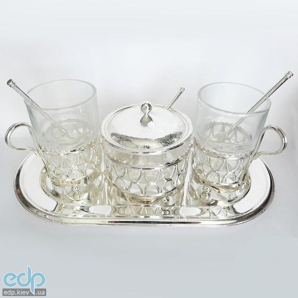 Lessner - Silver Набор для чая 2 персоны на подносе 7 предметов (арт. ЛС99101)