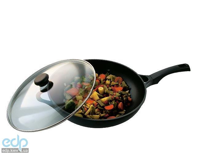Vinzer - Сковорода-вок с крышкой (Cast Form Classic) - диаметр 32 см, покрытие Teflon Platinum, крышка-стекло Pyrex (арт. 89404)