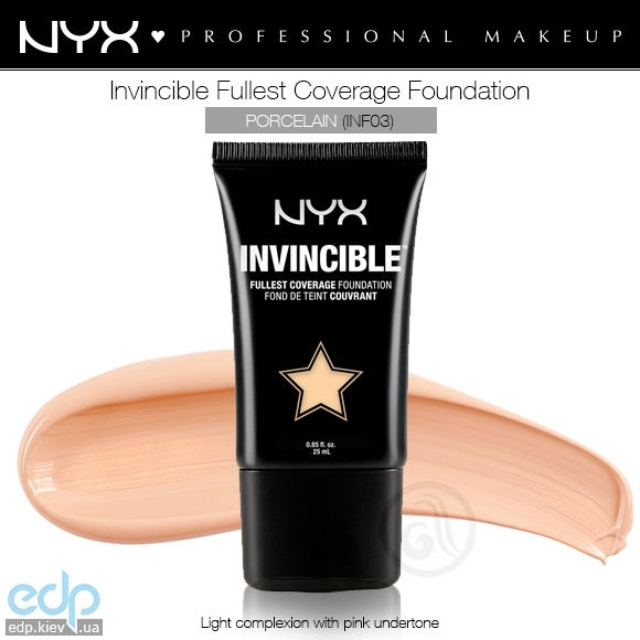 NYX - Тональная основа Invincible Fullest Coverage Foundation Porcelain INF03 - 25 ml