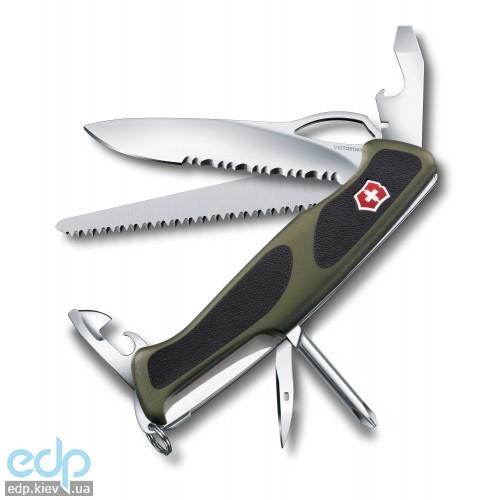 Складной нож Victorinox - RangerGrip 178 - 130 мм, 12 функций зелено-черный (0.9663.MWC4)