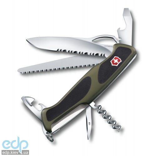 Складной нож Victorinox - RangerGrip 179 - 130 мм, 12 функций зелено-черный (0.9563.MWC4)
