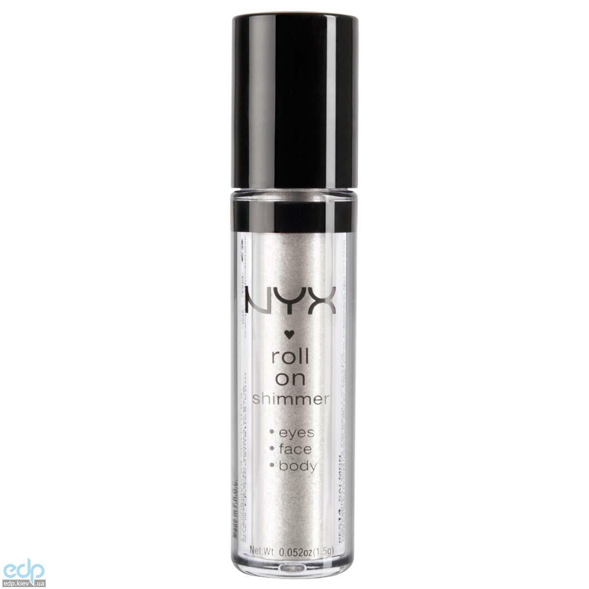 NYX - Тени-пигменты ультрасияющие Roll On Shimmer Platinum холодный белый с серебристым глиттером RES12 - 1.5 g