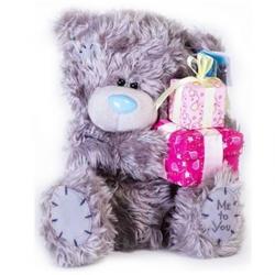 Игрушка плюшевый мишка MTY (Me To You) -  с подарками Happy Birthday 25cм (арт. G01W0251)