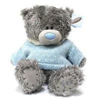 Игрушка плюшевый мишка MTY (Me To You) -  мишка в голубом вязаном свитере 25 см (арт. G01W1995)