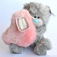 Игрушка плюшевый мишка MTY (Me To You) -  мишка с розовым меховым сердцем LOVE N KISSES 22 см (арт. G01W2005)