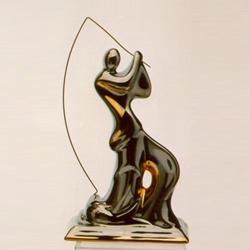 Статуэтки Galos (Испания) - Рыбак - 14 x 10 см. (фарфор, покрытие платиной, золотом)
