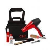 CHI - Набор инструментов для стилиста Caddy Kit (утюжок керамический + фен +  брашинг + восстанавливающий комплекс с шелком - 177 ml + термозащитный спрей для волос - 251 ml + расческа + сумка) PM8077