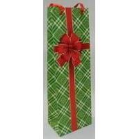 Пакет бумажный под бутылку Sabona - Бант на зеленом - 45x13x12