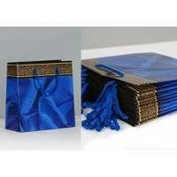 Пакет бумажный Sabona - Ткань синяя  24,5x35x10