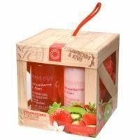Grace Cole - Набор для тела Strawberry Fields (гель для душа очищающий, освежающий 100 ml + лосьон для тела увлажняющий, питательный 100 ml + мочалка) с ароматом клубники и киви