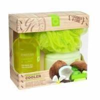 Grace Cole - Набор для тела Coconut Cooler (гель для душа очищающий, освежающий 170 ml + лосьон для тела увлажняющий, питательный 200 ml + мочалка) с ароматом кокоса и лайма