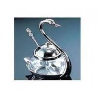 Lessner - Сахарница с ложкой Лебедь Silver Collection 11х7.5х15.5 см (арт. ЛС99155)