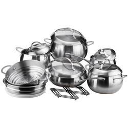 Vinzer -  Набор посуды FINE MAJESTIC - 14 предметов, медное термоаккумулирующее дно, комбинированная крышка (стекло – металл), матовая внешняя поверхность (арт. 89035)