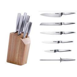Vinzer -  Набор ножей Solid - 7 предметов, стальная ручка, подставка из дерева (арт. 69127)