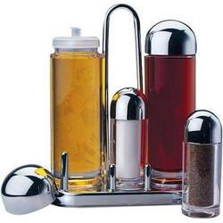 Vinzer -  Менажница - акрил, 5 предметов: емк, для масла, уксуса, соли и перца, хром, подставка (арт. 69262)
