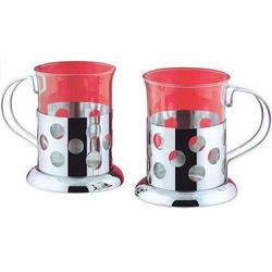 Vinzer -  Набор из двух чашек - нержавеющая сталь, стекло Pyrex, 200 мл (арт. 69351)