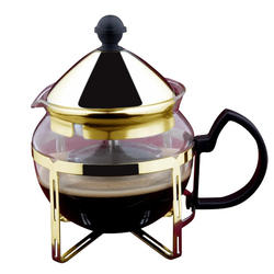 Vinzer -  Заварник для чая - стекло Thermix, нержавеющая сталь с покрытием, ситечко, 600 мл (арт. 69398)