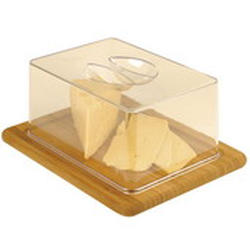 Vinzer -  Бамбуковая доска для сыра с пластиковой крышкой - 26 х 20 см (арт. 69926)